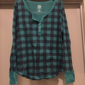 Navy/Green Flannel Long-sleeved henley